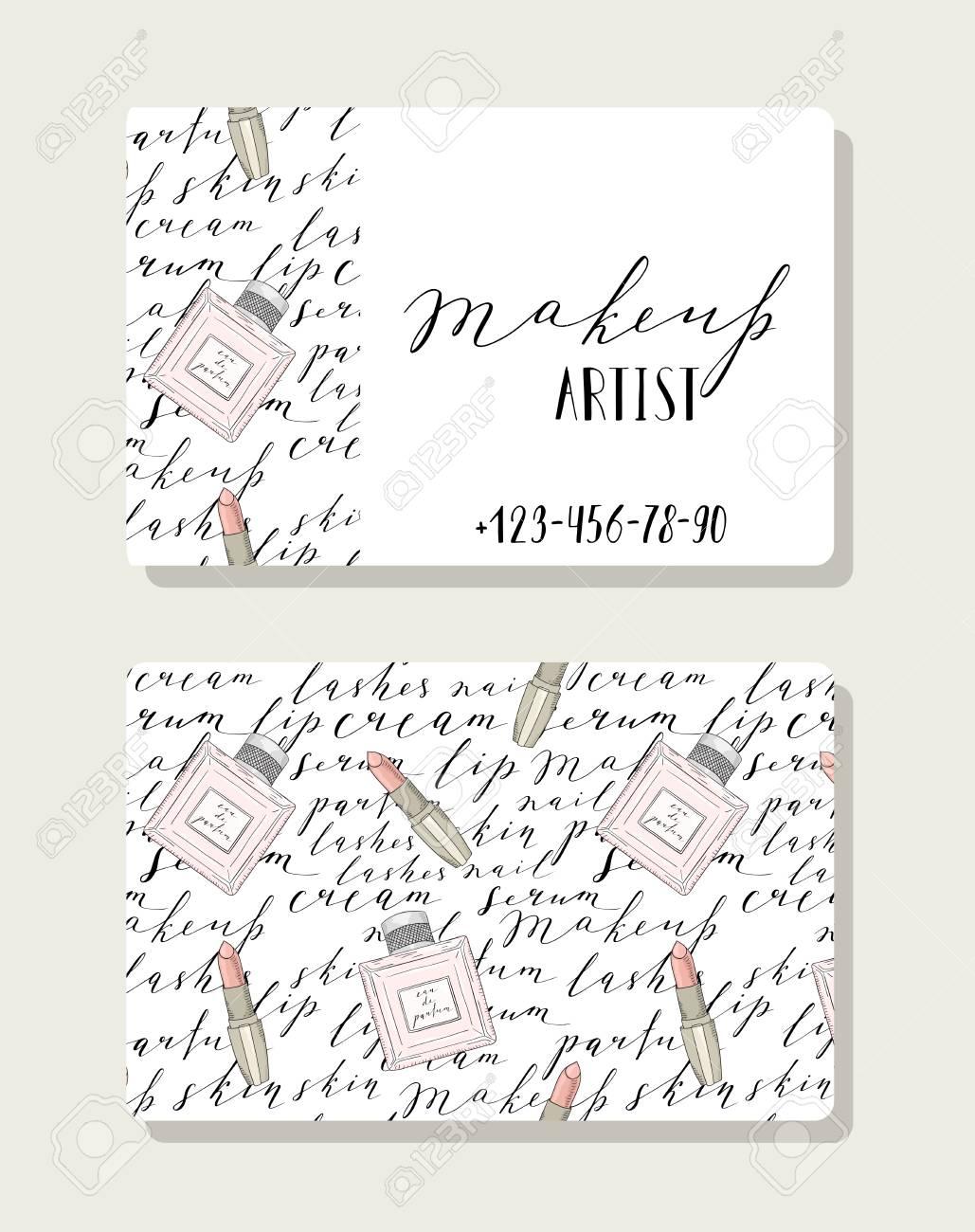 Business Card For Makeup Artist, Pattern With Handwritten Words ...