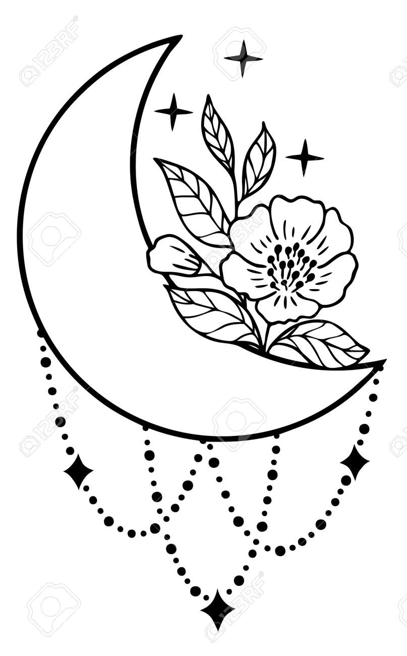 Magic moon with stars, chains and flowers on white background. - 170193119