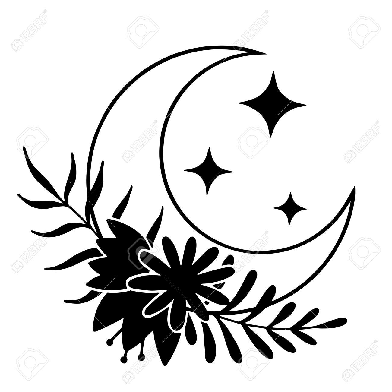 Magic moon with stars and flowers on white background. - 170193124