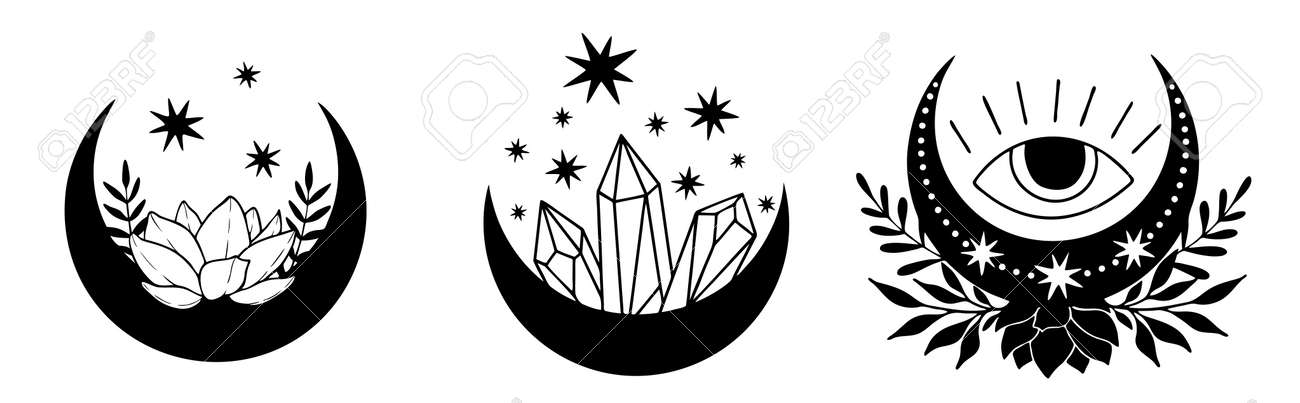 Set of magic black moons with stars and flowers on white background. - 170193128