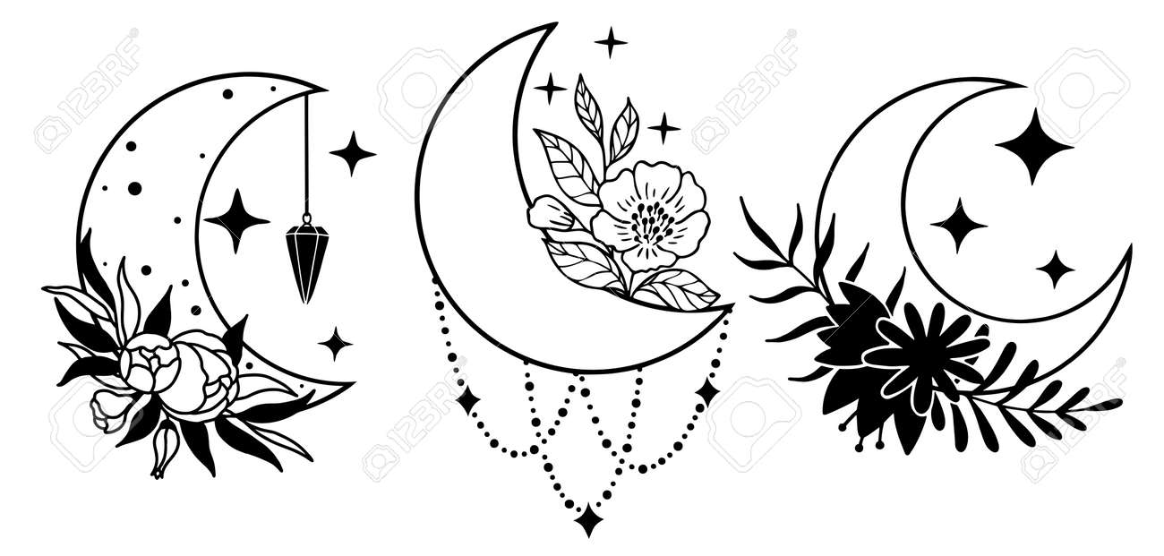 Set of magic black moons with stars and flowers on white background. - 170193129