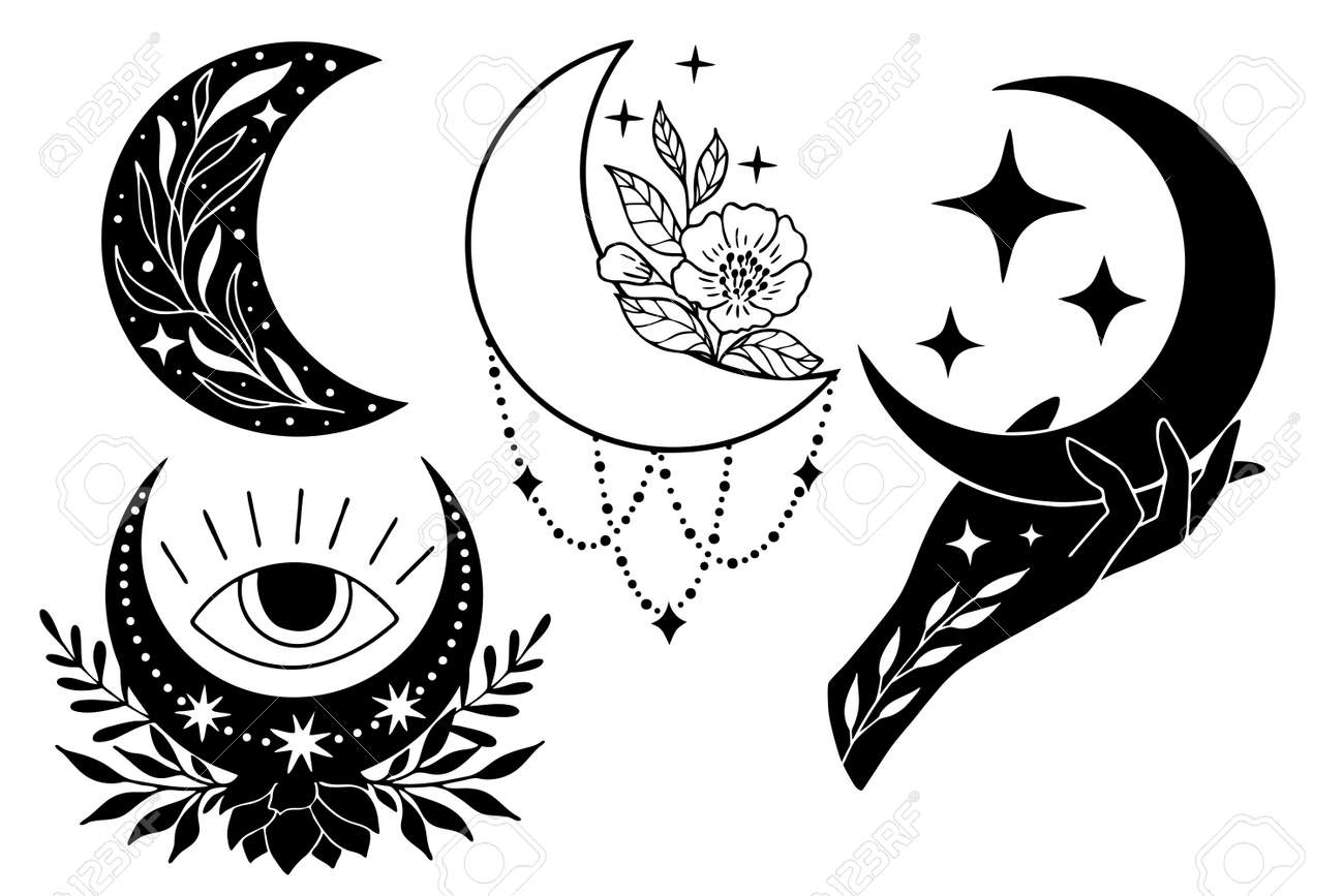Set of magic black moons with stars and flowers on white background. - 170193130