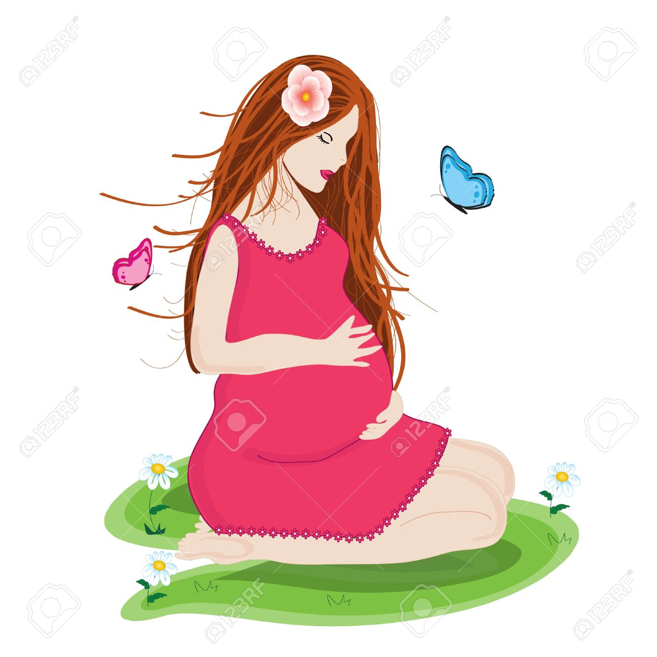 Beautiful young  and Happy  pregnant woman in pink dress prepared to be mother Stock Vector - 19502080