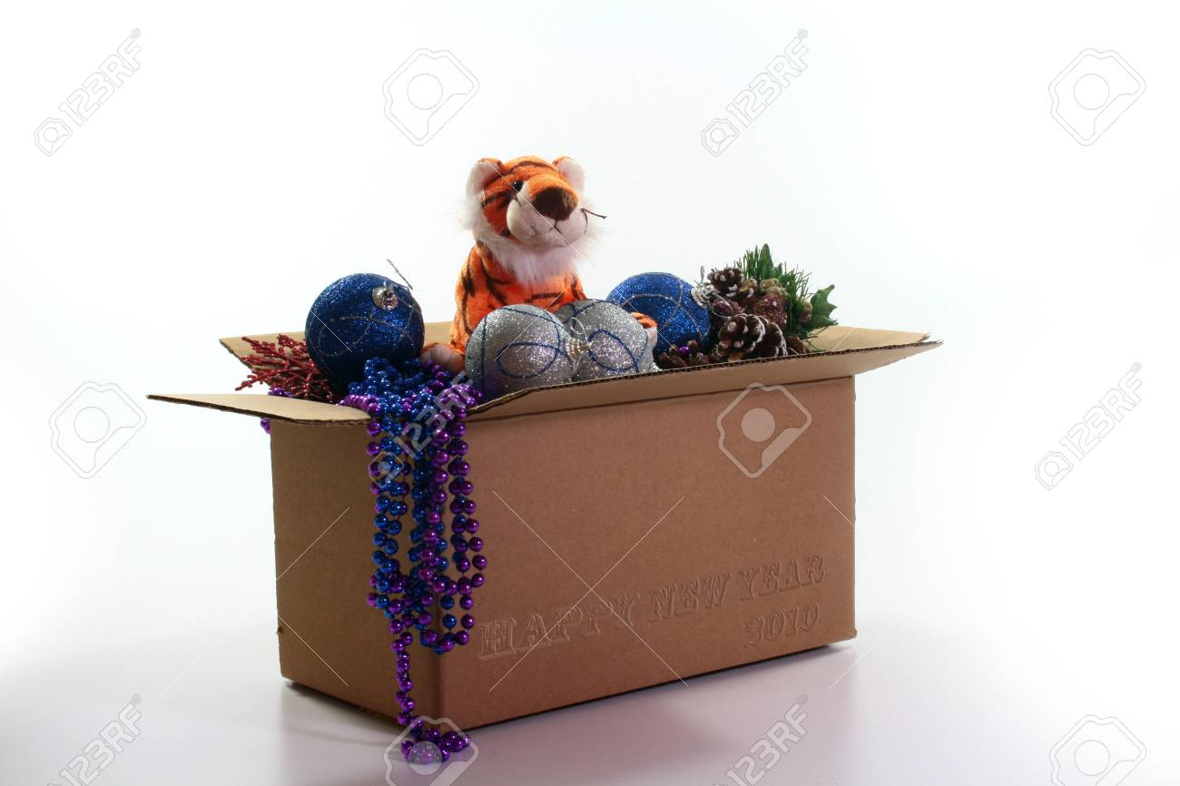 Box with fur-tree toys and symbol of 2010 an orange tiger. On a box inscription Happy New Year 2010. Stock Photo - 5641146