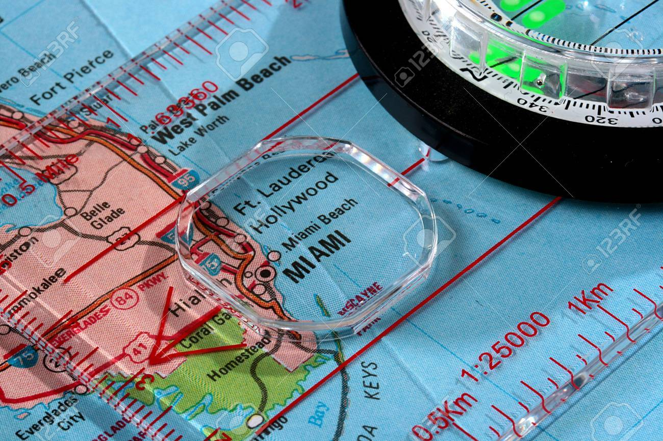 Picture of: Usa Map With The City Of Miami And A Compass With Magnifying Stock Photo Picture And Royalty Free Image Image 6242657