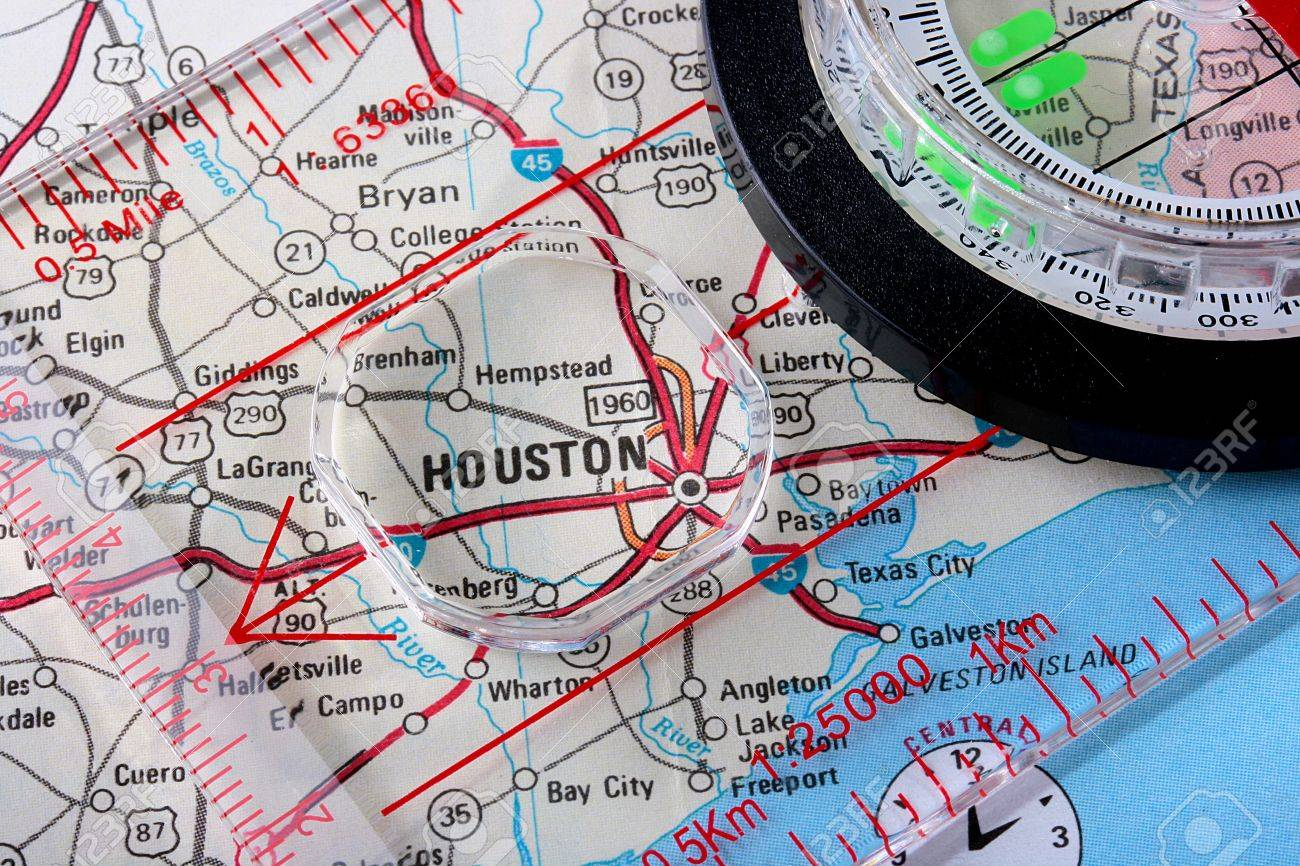 Picture of: Usa Map With The City Of Houston And A Compass With Magnifying Stock Photo Picture And Royalty Free Image Image 6276607