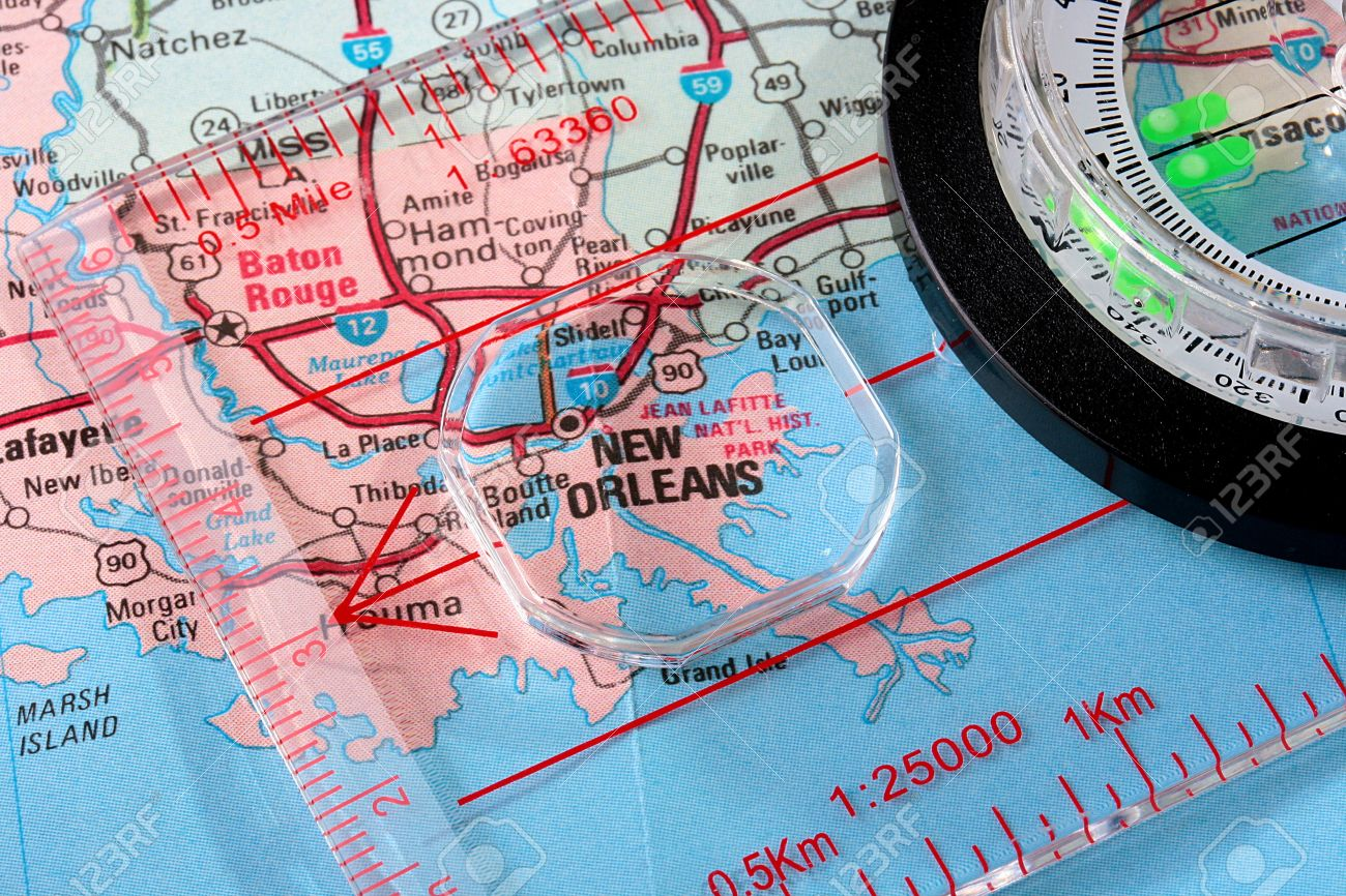 USA Map With The City Of New Orleans And A Compass With Magnifying - New orleans in map of usa