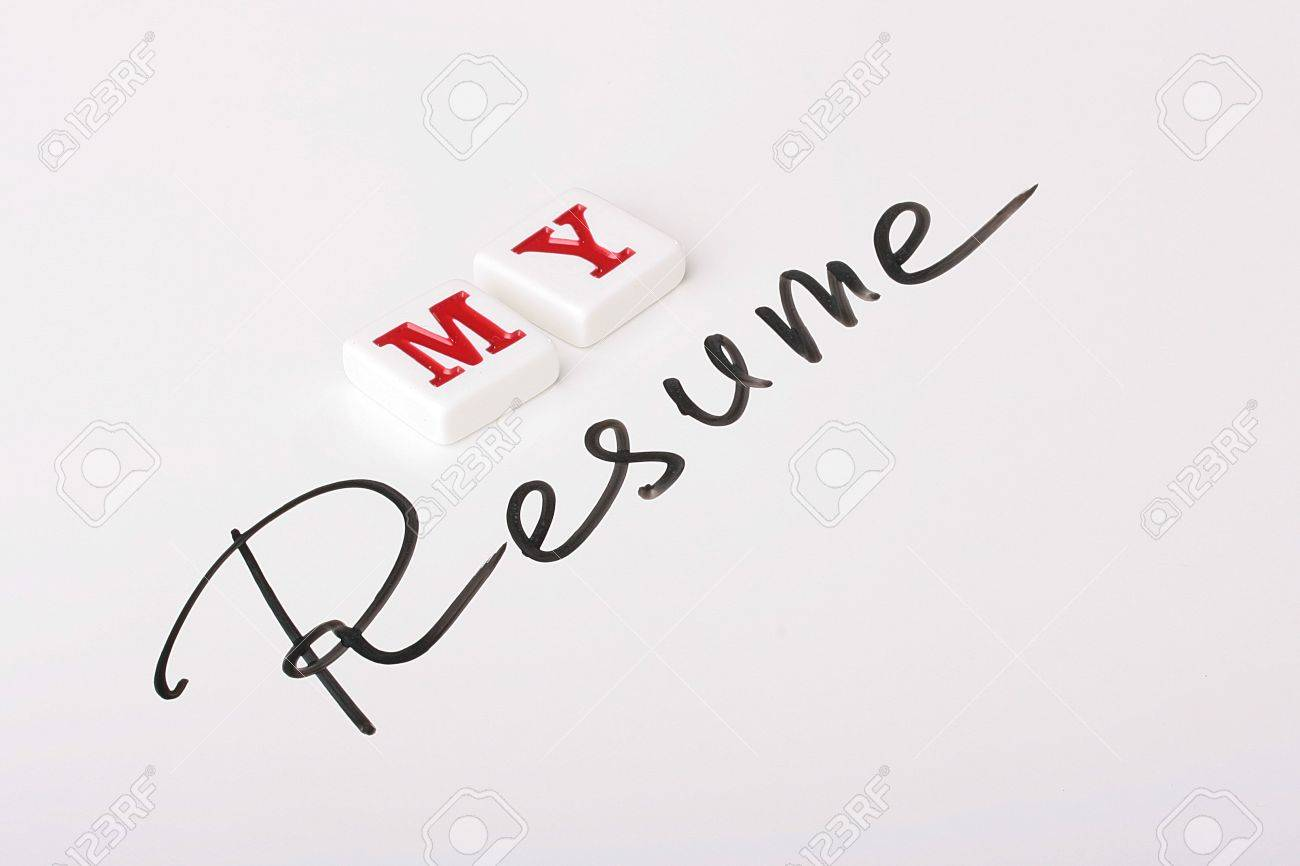 The Resume Word Is Written By A Marker On A White Surface And