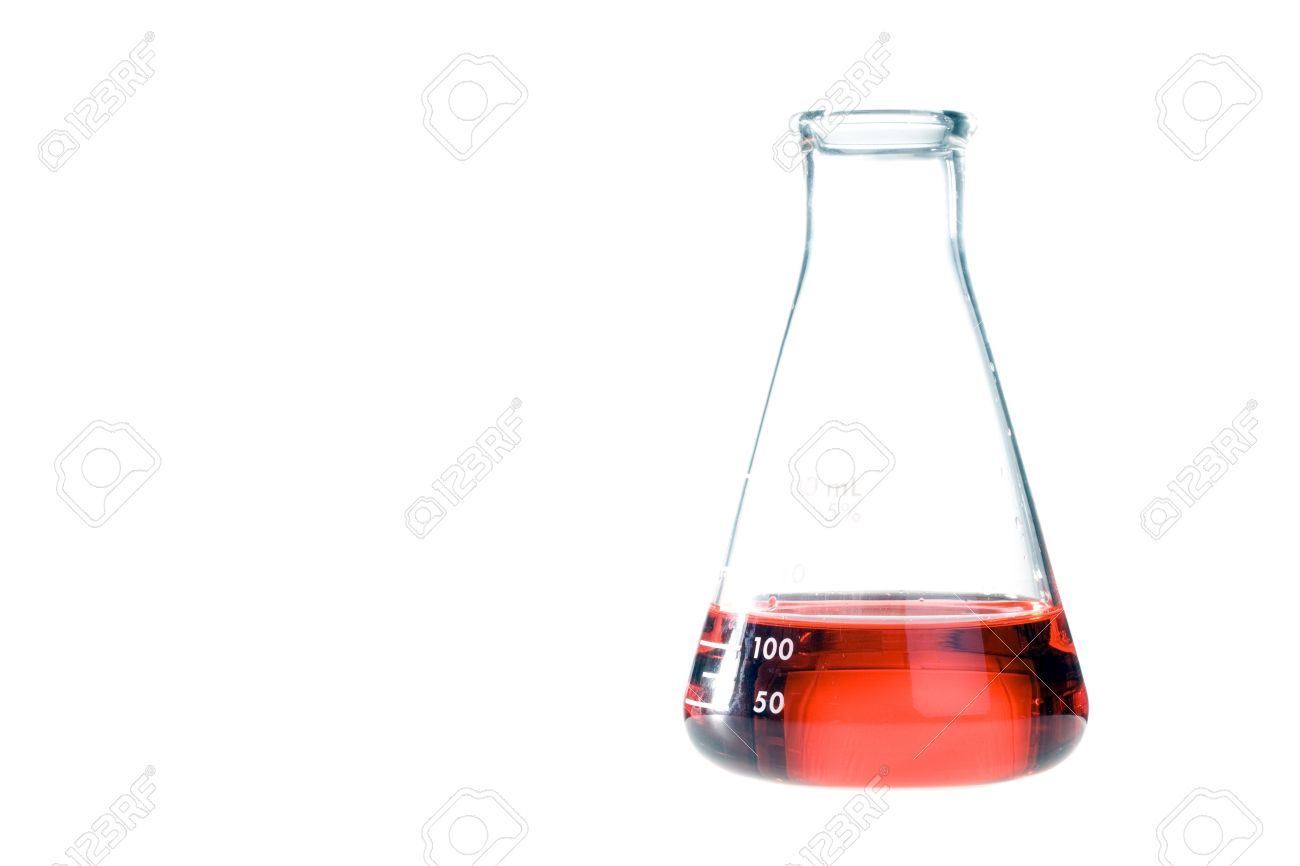 Red liquid in a clear erlenmeyer flask isolated on a white background
