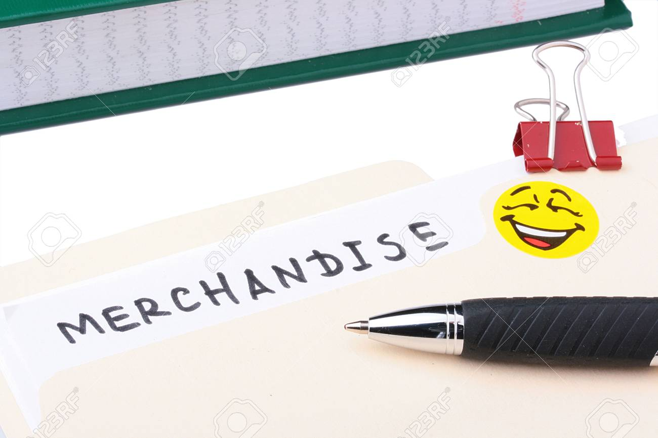 A merchandise folder with a pen and a yellow smiley on it. Stock Photo - 7671288