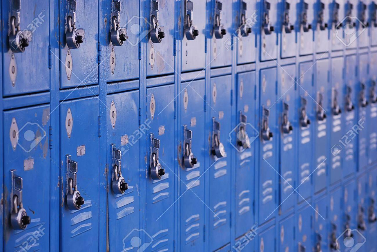 school metal lockers for storage of personal belongings stock photo - Metal Lockers