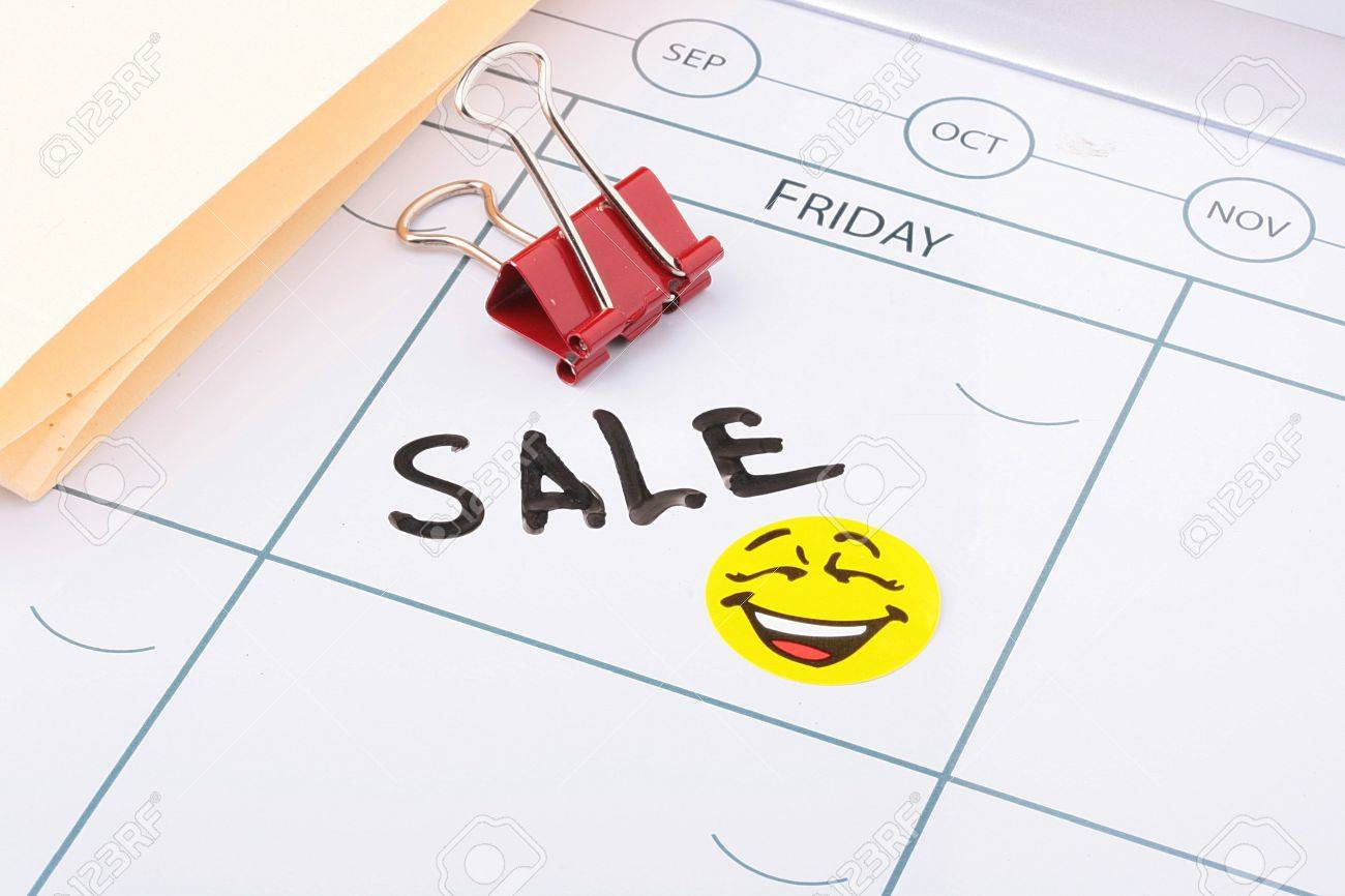 Verkauf Von Word Geschrieben In Einem Kalender Neben Einen Smiley