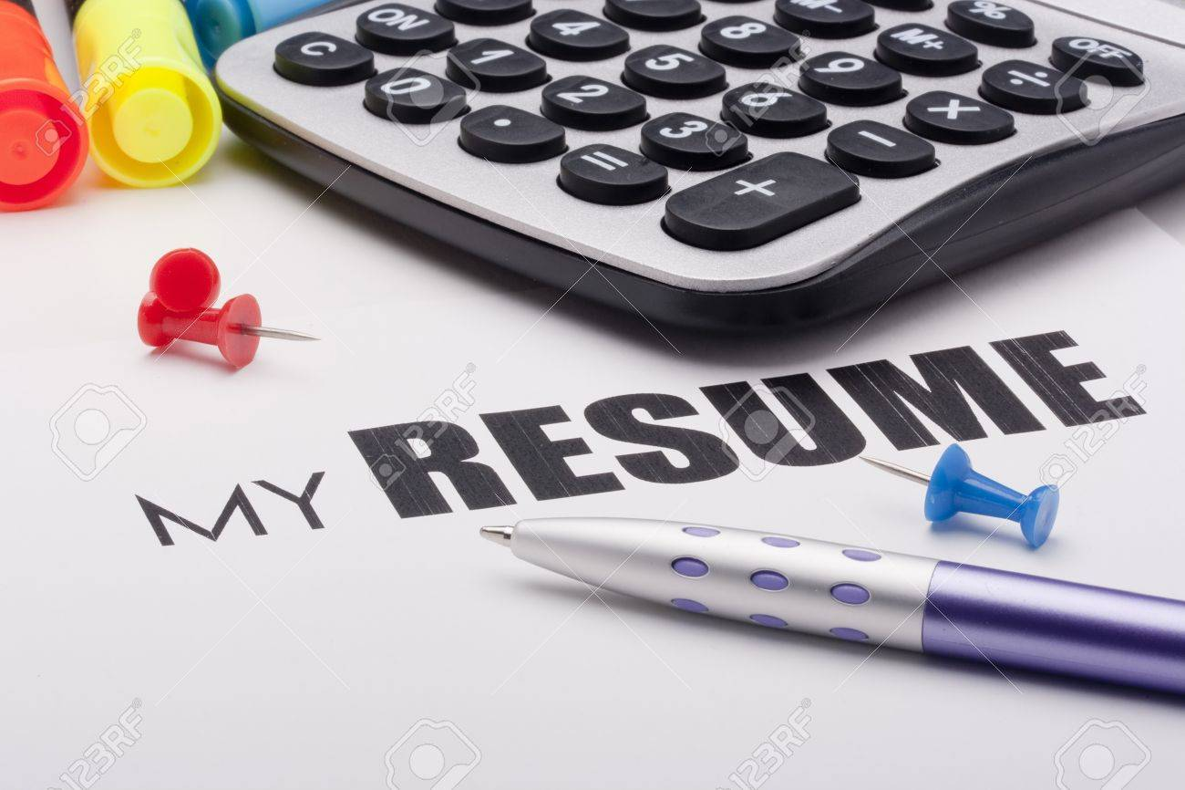 Text - My Resume, with the placed items describing the accounting and financial activities. Stock Photo - 8356020