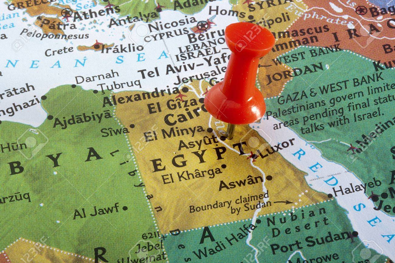 Country Of Egypt Pinned On A World Map Stock Photo Picture And - Map of egypt on world map