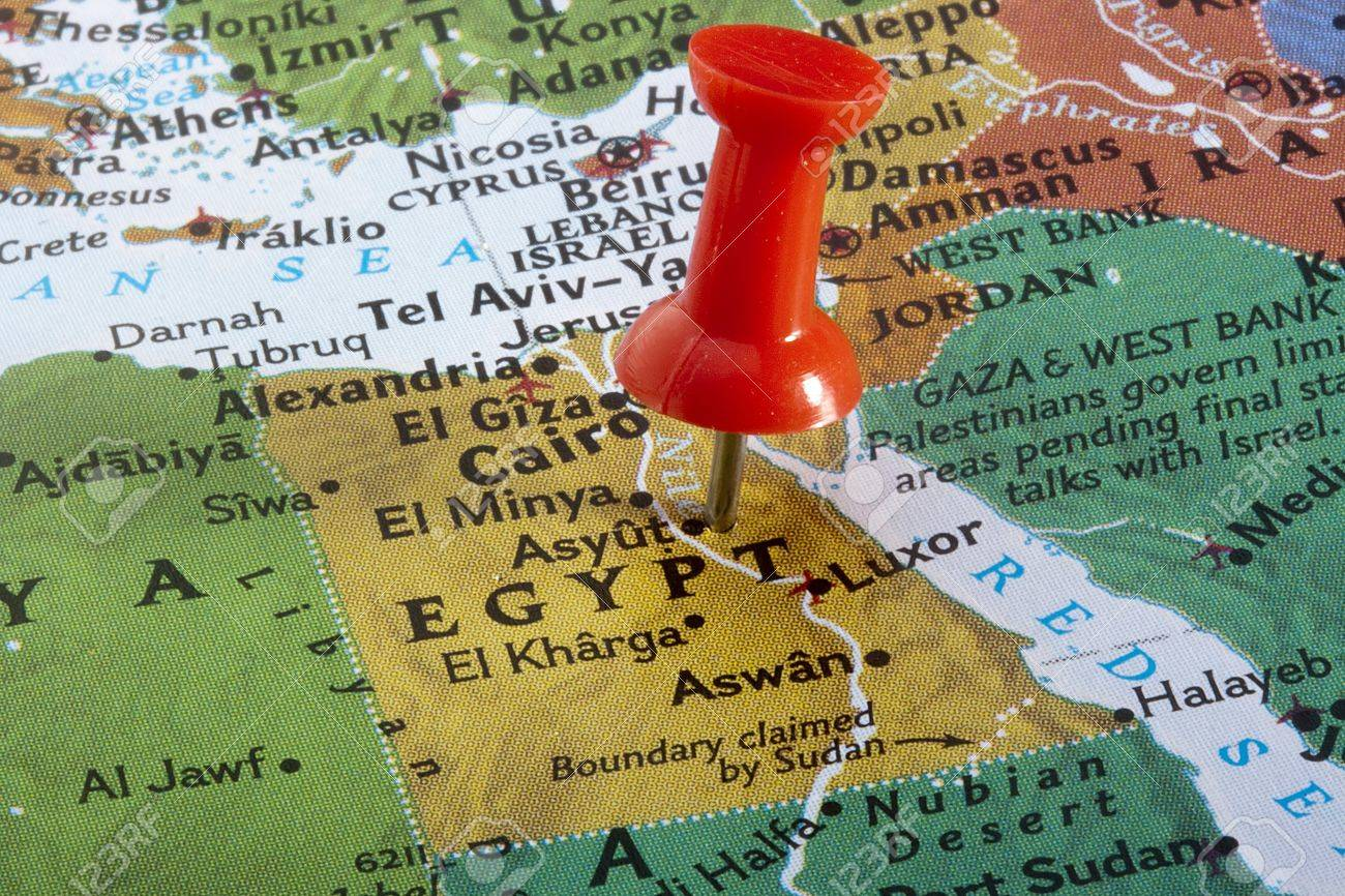 Country Of Egypt Pinned On A World Map Stock Photo Picture And - Egypt on world map
