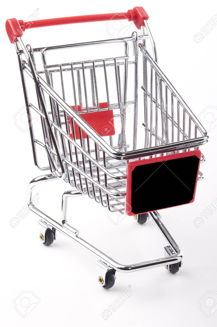 Empty shopping cart with the red handle on a white background. Stock Photo - 9009593