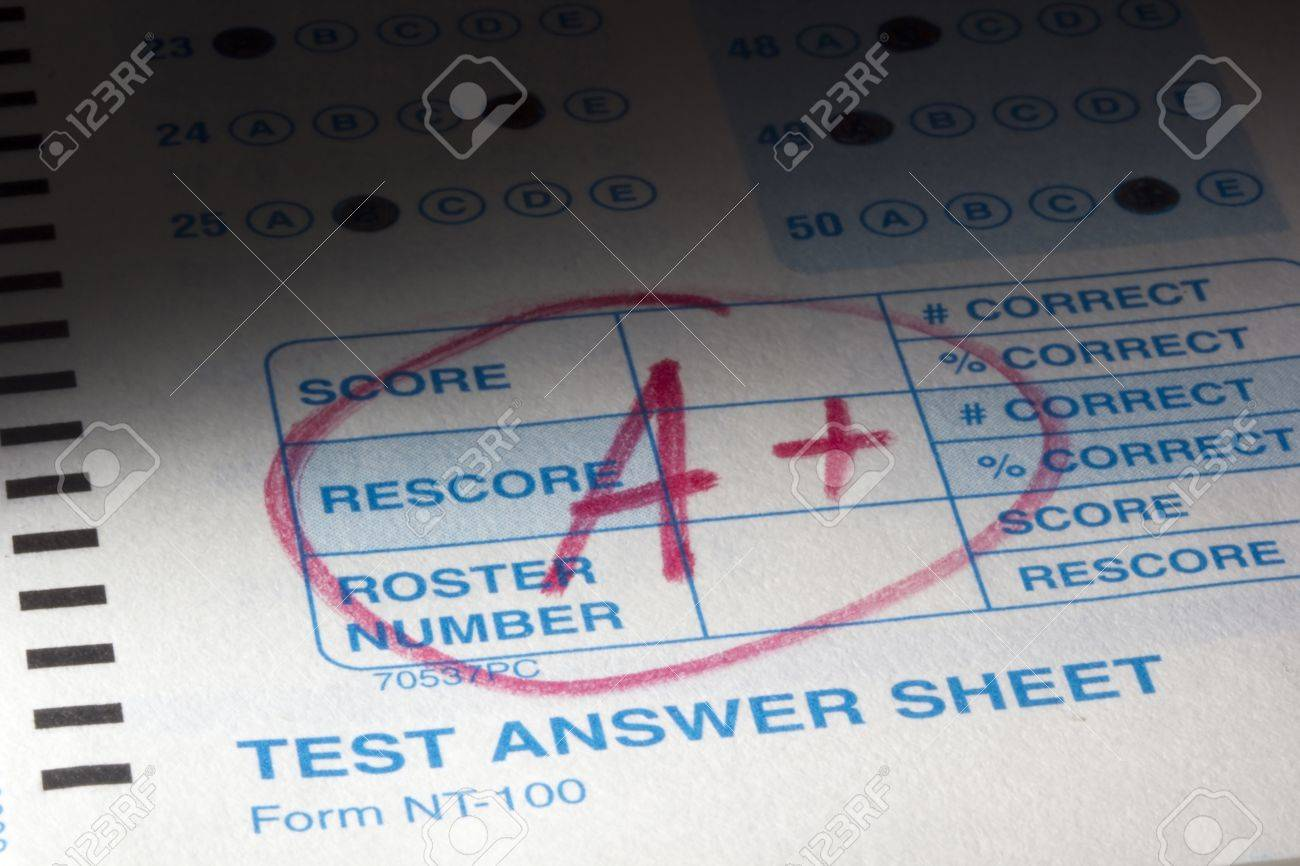 Close-up photograph of a perfect grade on a scantron test