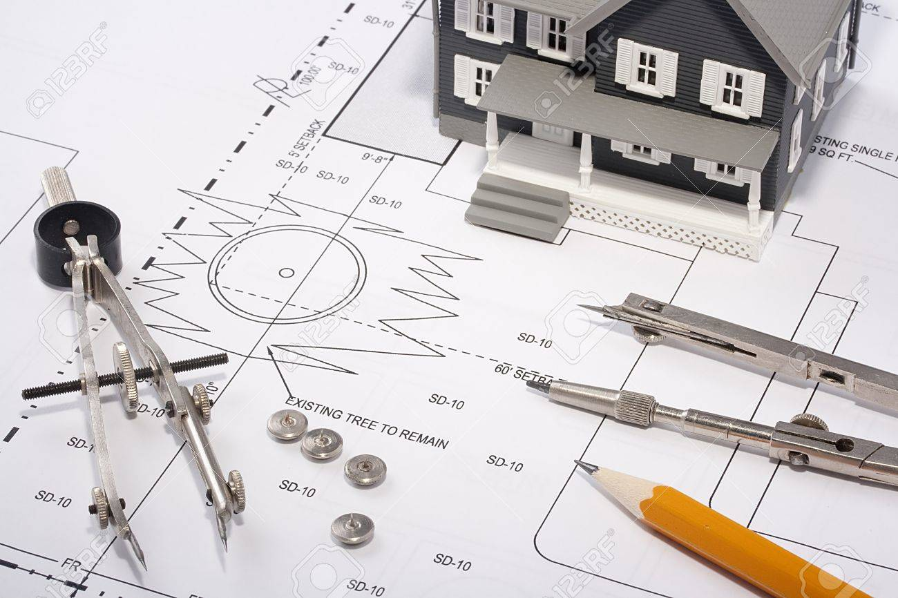 House Model And Drafting Tools On A Construction Plan. Stock Photo    10458956