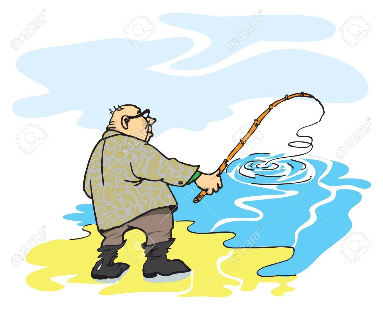 рисунки рыбака  со удочкой