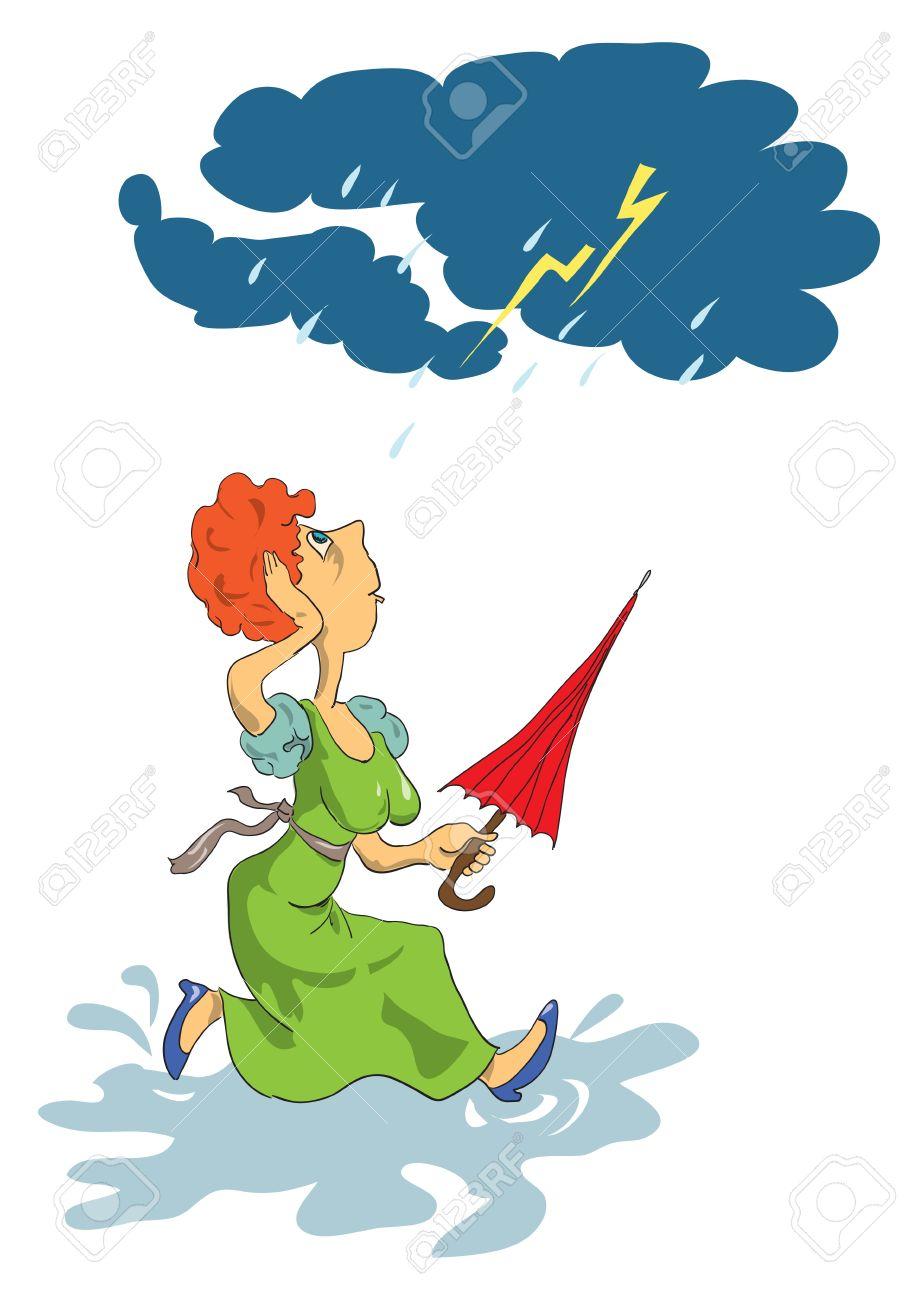 女性は手嵐漫画の傘と水たまりを介して実行されますのイラスト素材