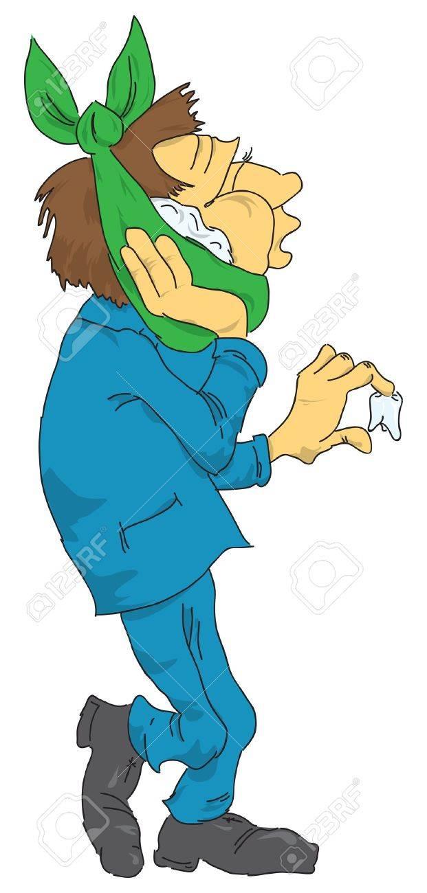 ベクトル イラスト漫画人倒れた歯との歯痛についてですのイラスト