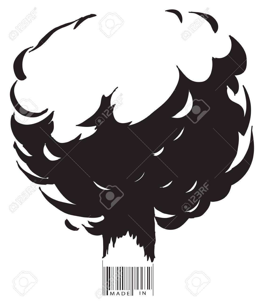 The explosion and the bar code text made in ... Vector illustration. Stock Vector - 11655724