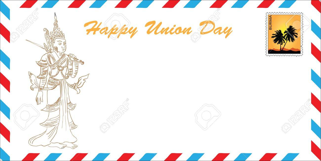 Happy Union Day - Burma. The concept of greeting cards in the format of the mail envelope. Vector illustration. drawing hands Stock Vector - 12200166