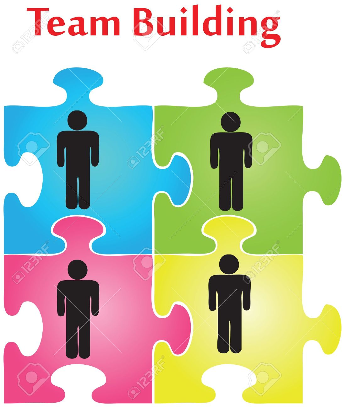 Vector Of Four Jigsaw Puzzle Pieces On The Topic Of Team Building ...