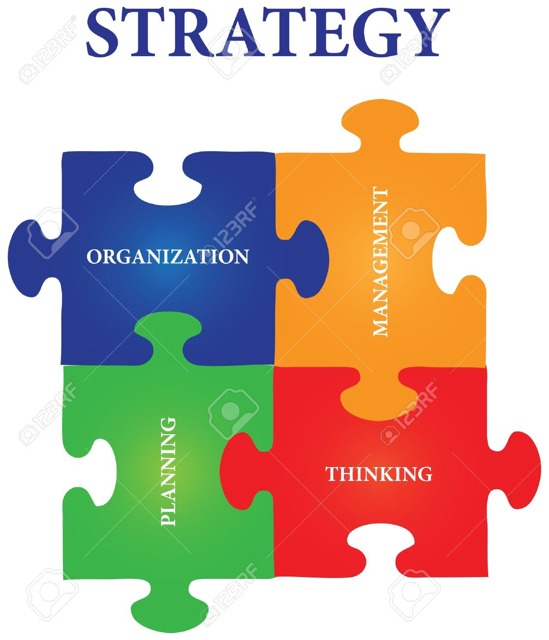 Vector of four jigsaw puzzle pieces with words on the topic of strategy. Stock Vector - 12200196