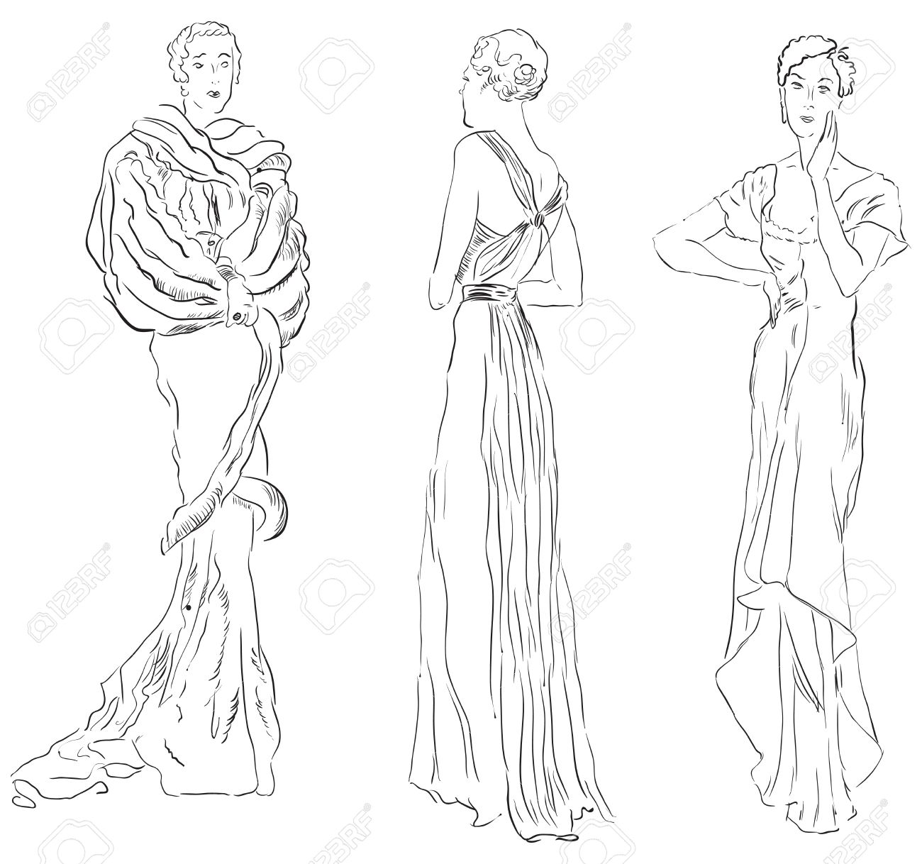 Three female figures in evening dresses. illustration, hand-drawing. Stock Vector - 12498463