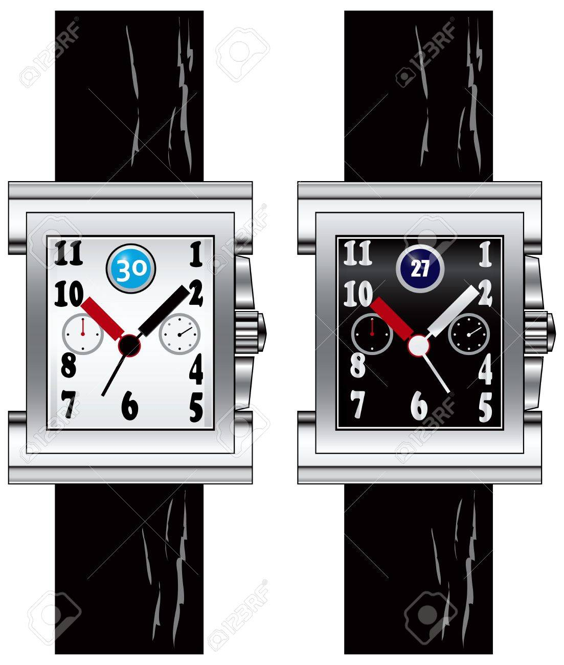 Modern watch on your wrist with a rectangular dial on black leather strap. illustration. Stock Vector - 12498578