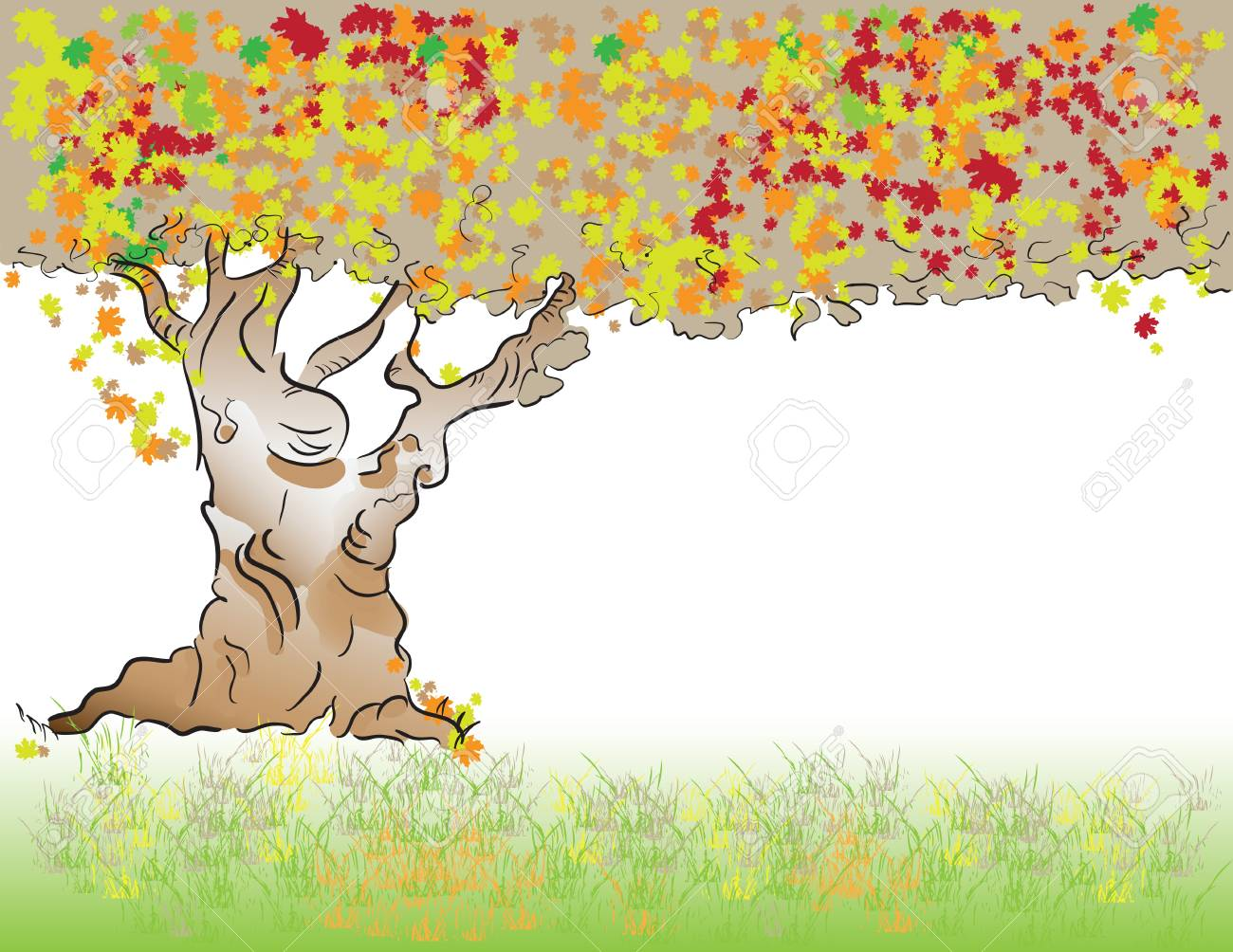 Autumn. Old tree with deciduous foliage. Stock Vector - 12813318