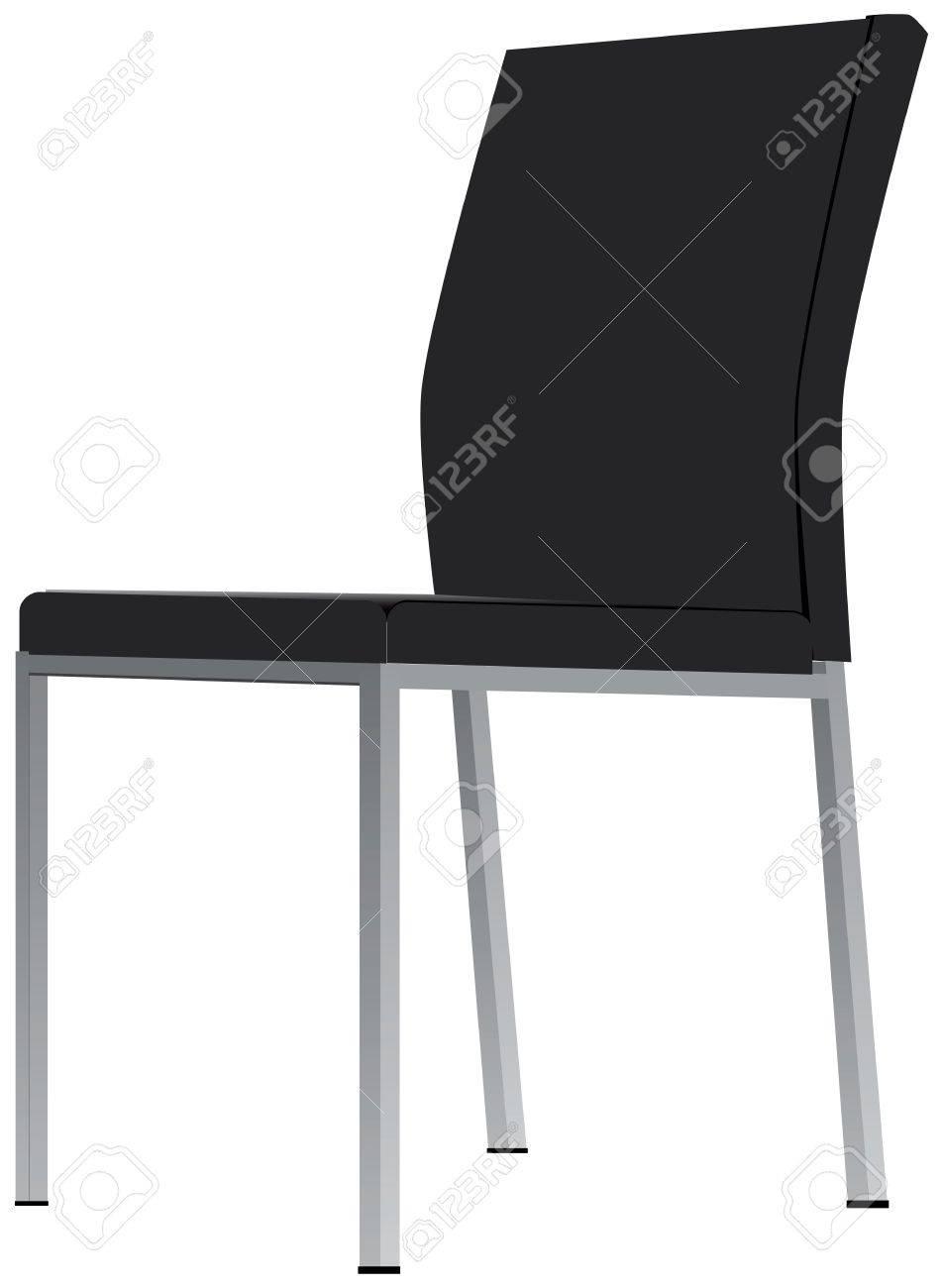 Silla de oficina tapizado en tela color gris oscuro y patas de metal.  Ilustración del vector.