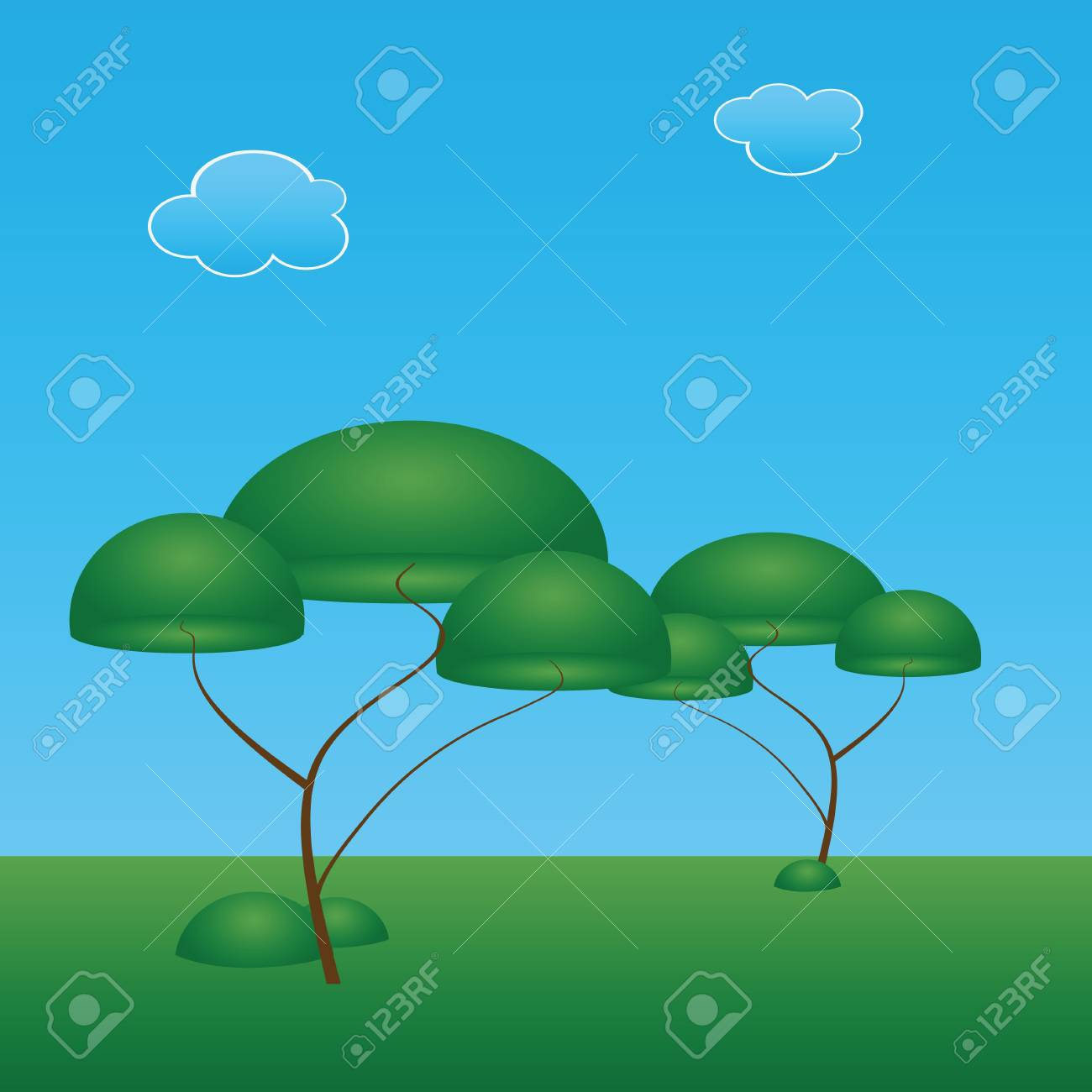 Trees with an oval crown. Vector illustration. Stock Vector - 13319888