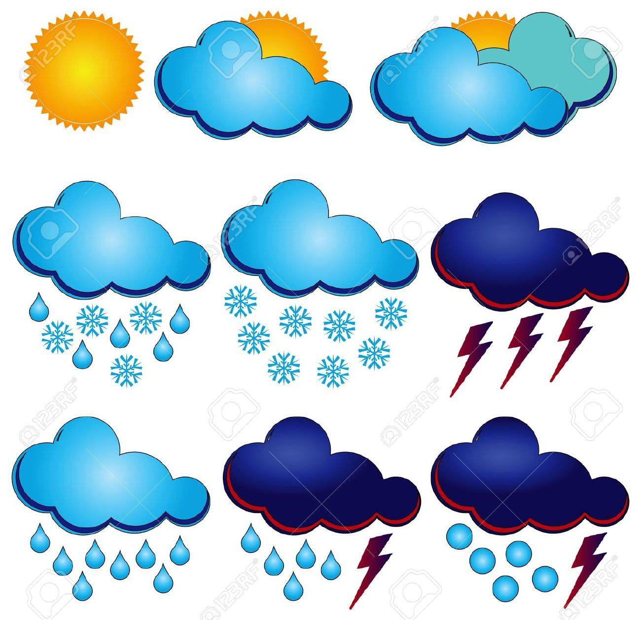 Synoptic symbols for different weather conditions. Stock Vector - 13408645