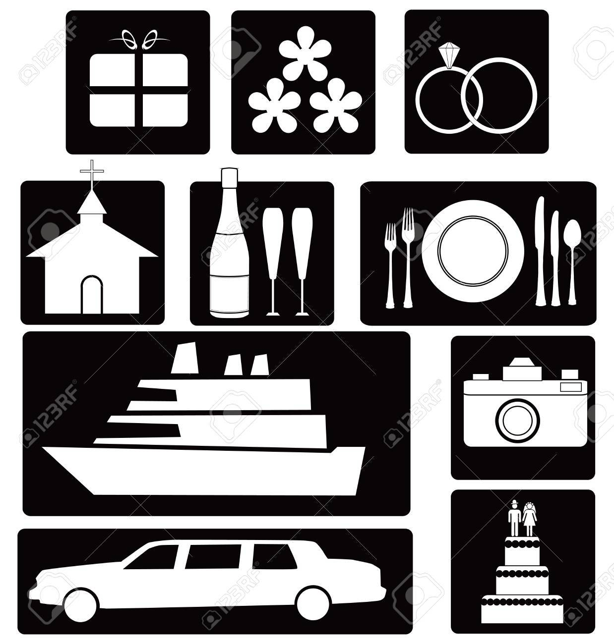 A set of wedding icons and symbols for design work illustration. Stock Vector - 13643266