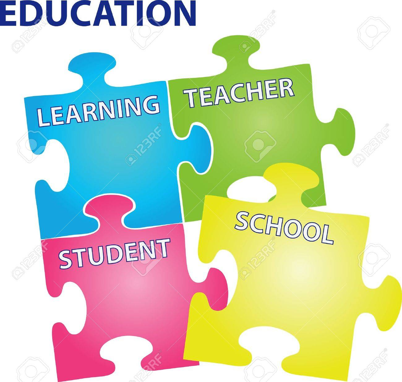 puzzles with words on the topic of education. Stock Vector - 13659756
