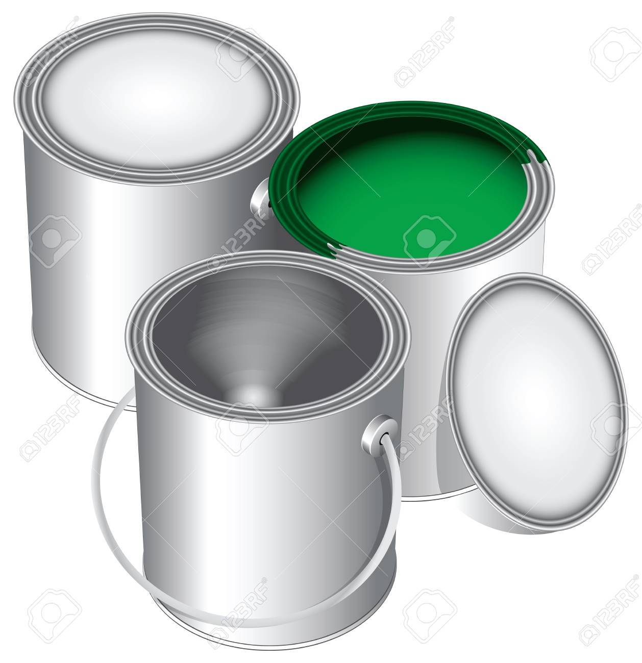 Three versions of standard cans of paint, closed, open and empty with green paint. Stock Vector - 13903538