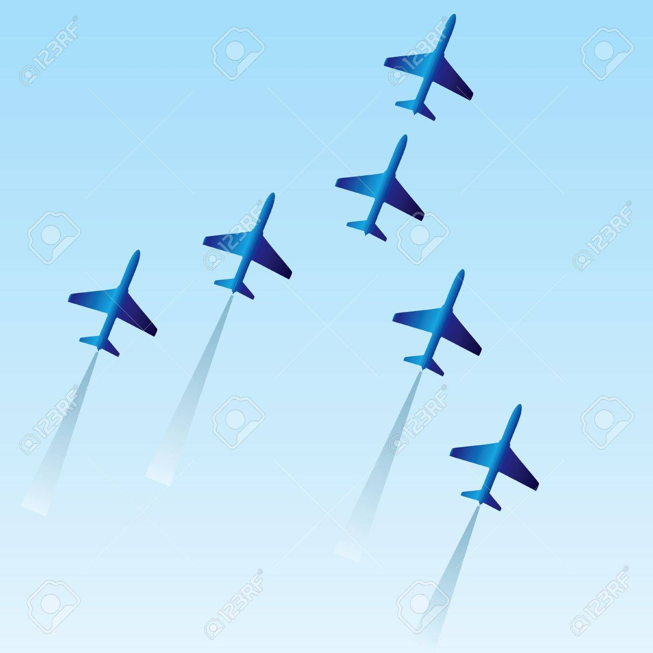 The squadron of six planes Stock Vector - 13903553