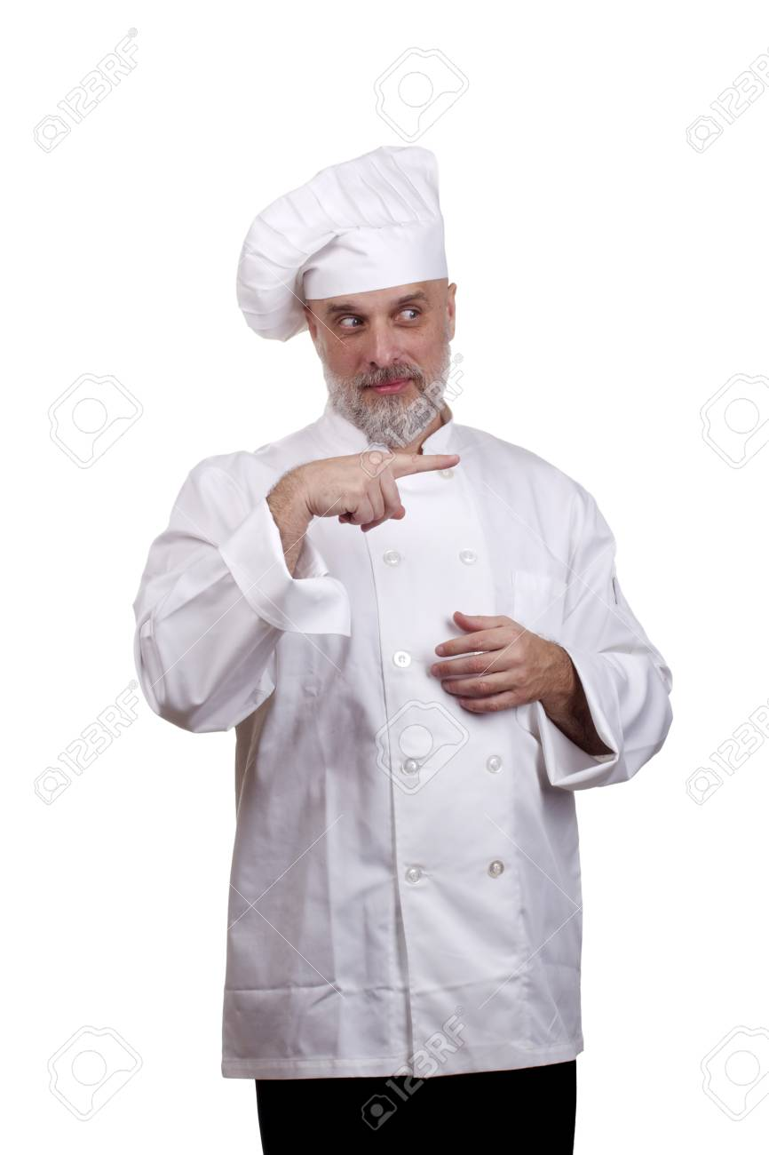 Portrait of a caucasian chef in his uniform on a white background. Stock Photo - 14120487