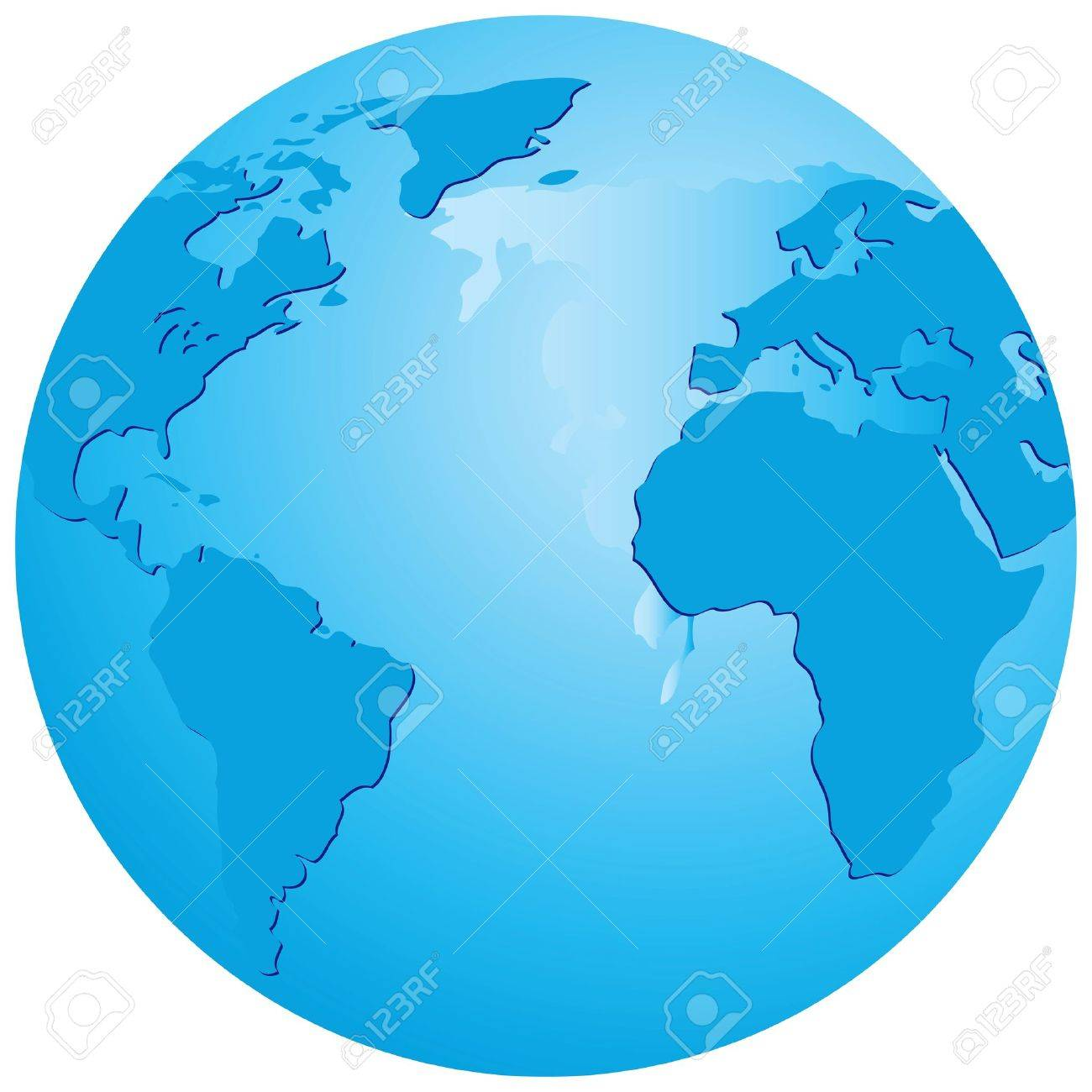 Map Of The World Transparent.Transparent Globe With An Emphasis On The Atlantic Ocean Vector