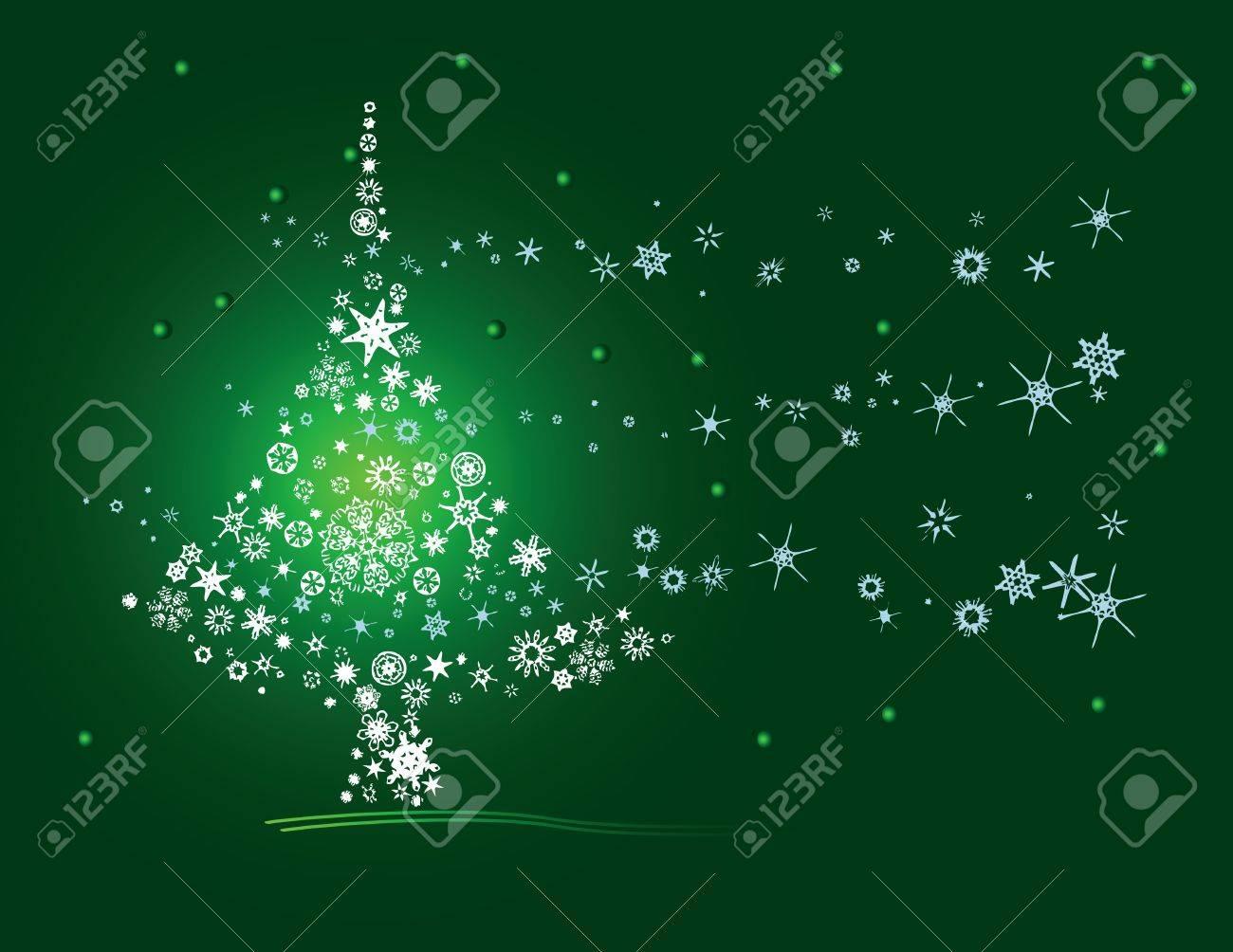 Christmas tree of snowflakes. Postcard. Vector illustration. Stock Vector - 14207312