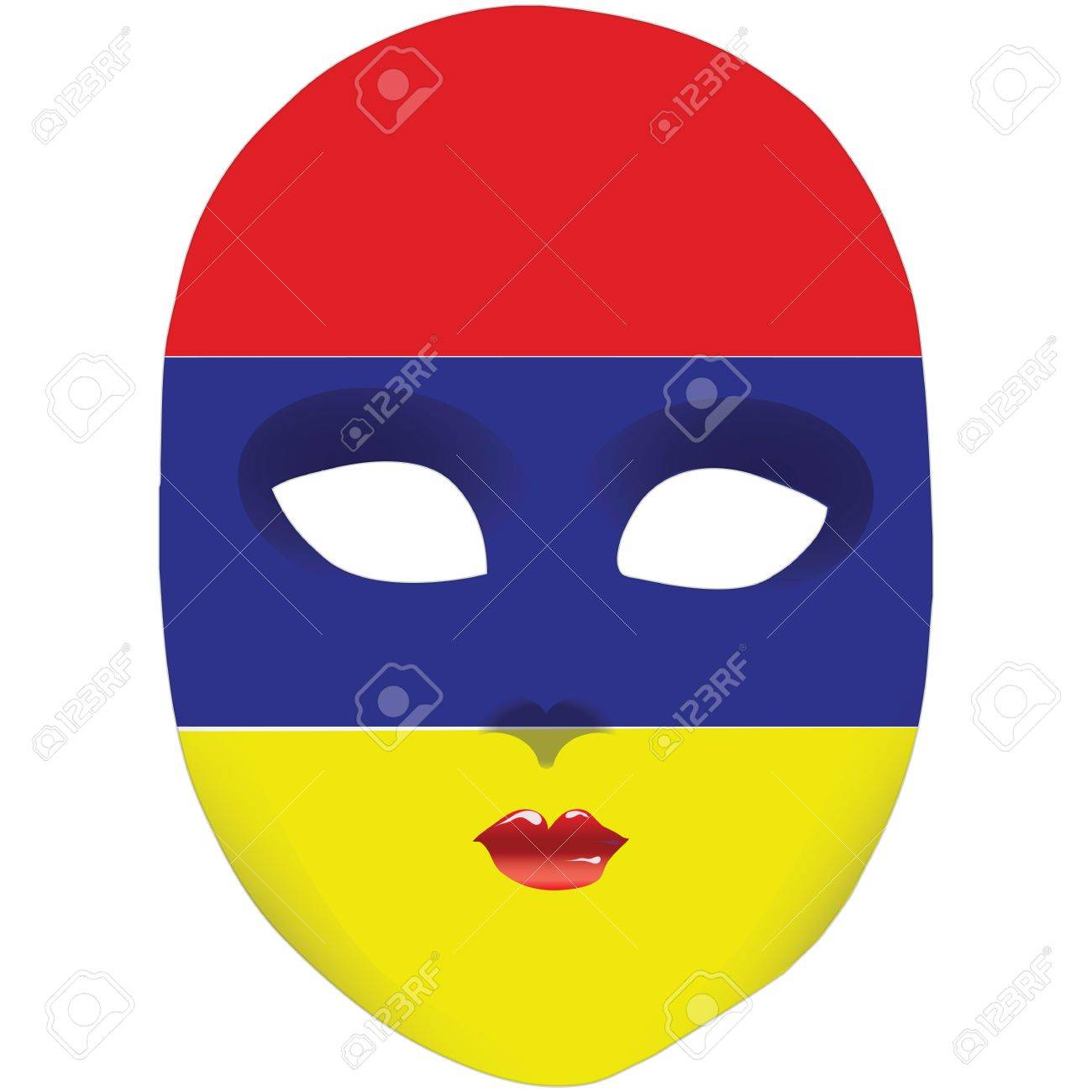 Classic Mask With Symbols Of Statehood Of Armenia Vector