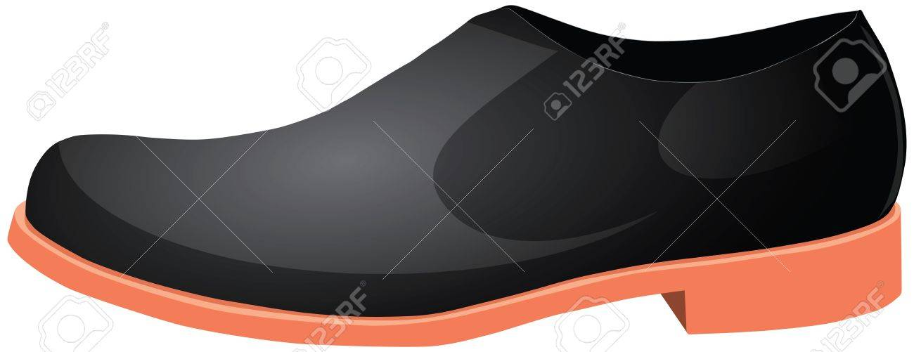 Modern men's black shoes with orange soles. Vector illustration. Stock Vector - 14601462