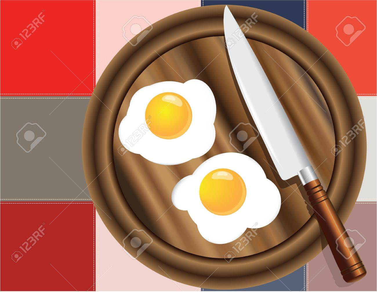 Fried eggs on the kitchen board with a decorative cloth Stock Vector - 14662308
