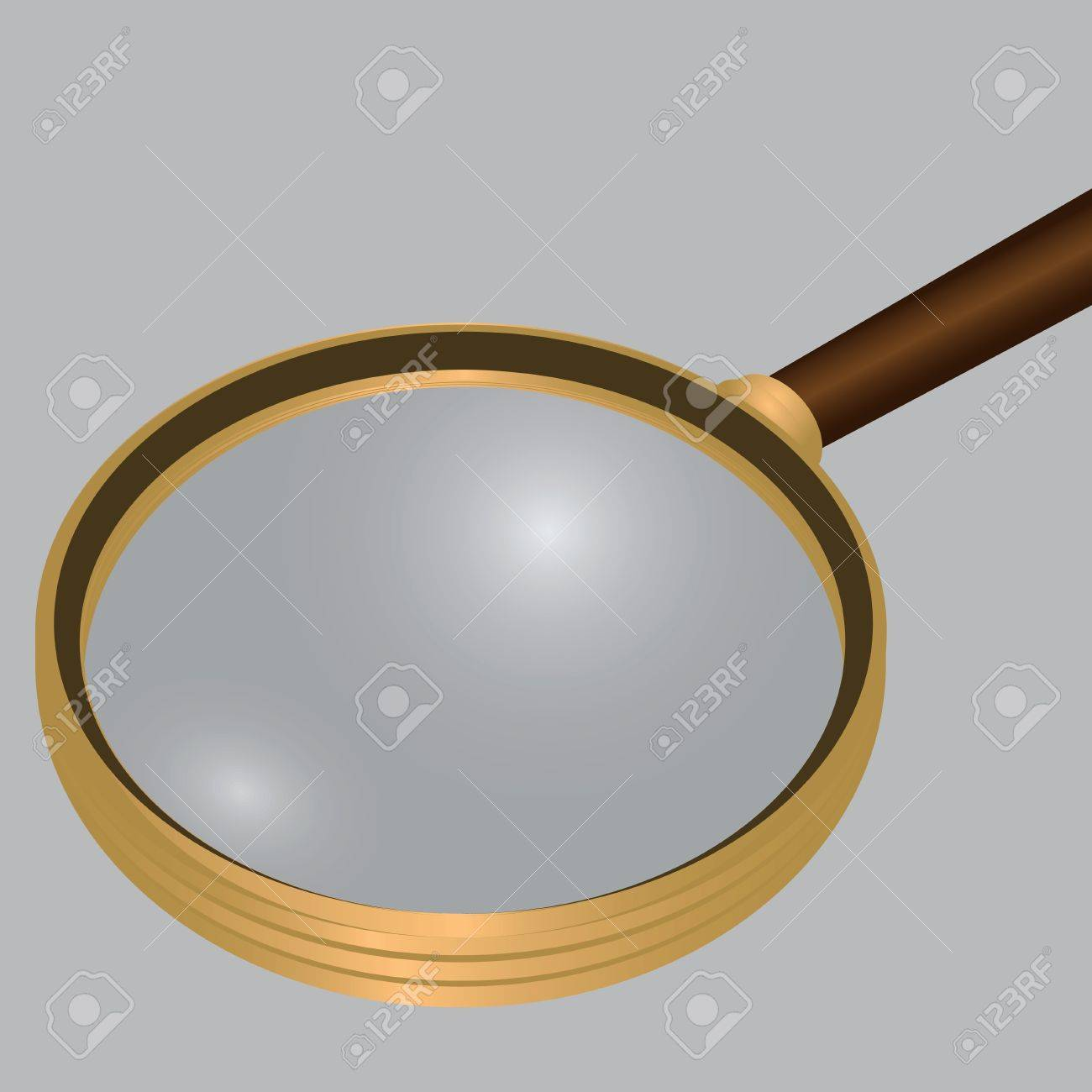 Antique magnifying glass in a frame of yellow materialla. Vector illustration. Stock Vector - 14716570