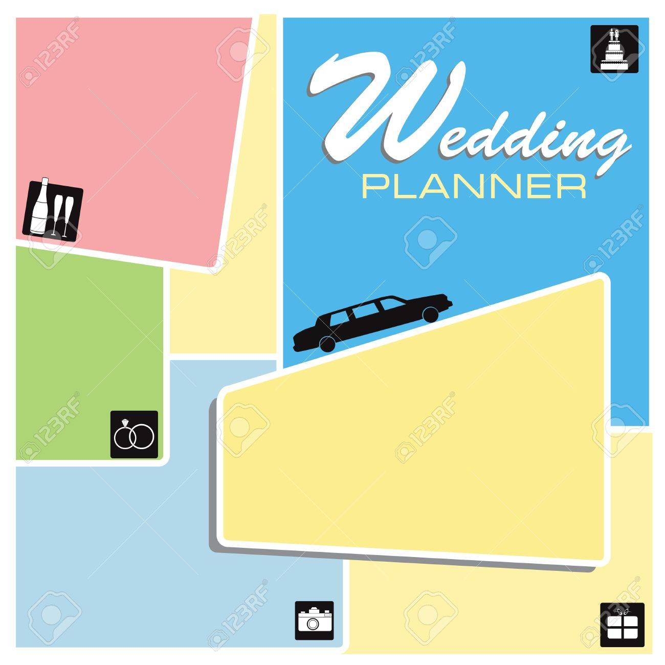 Screensaver Wedding Planner with wedding icons. Stock Vector - 14853474