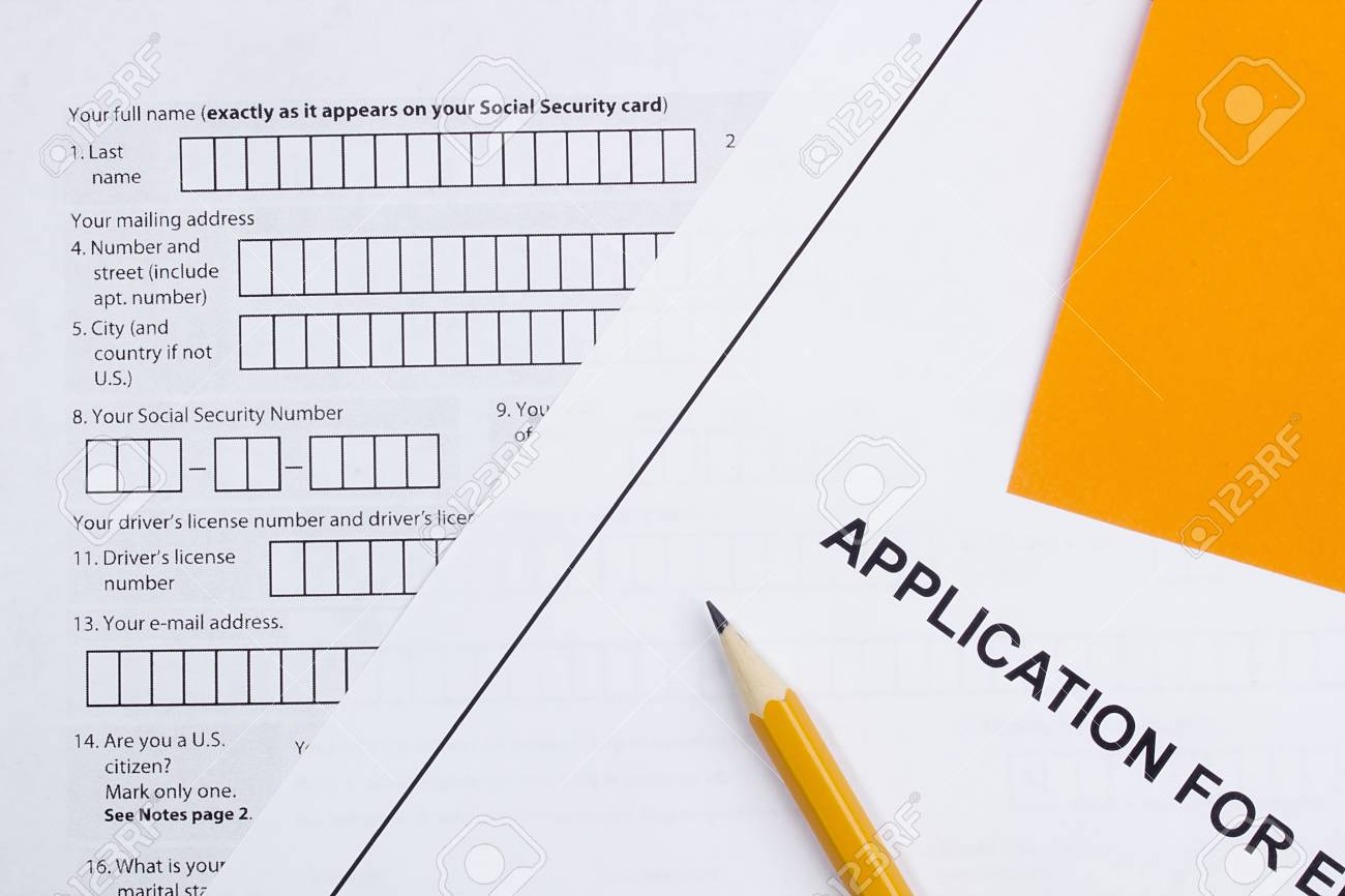 Directly above photograph of a job application. Stock Photo - 14853523