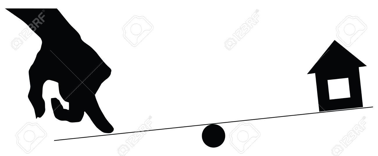 Reliability of the real estate market, the hand presses on the swing, with the house. Stock Vector - 14923157
