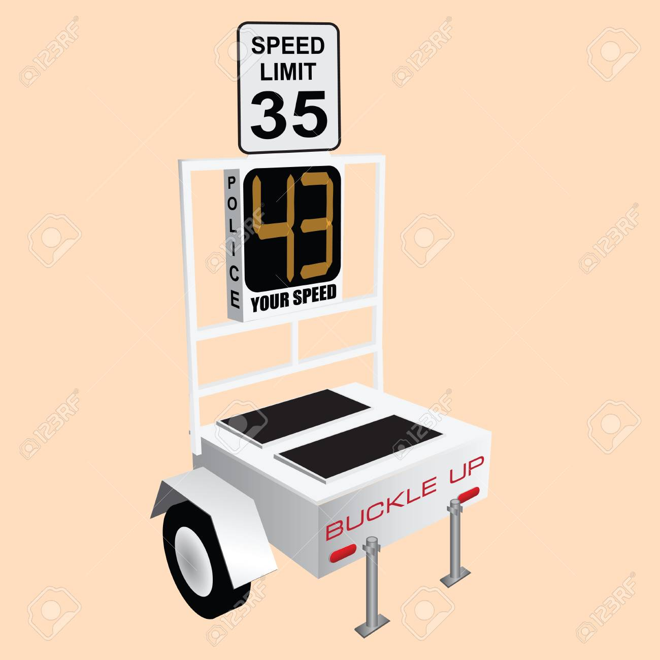 Device monitoring and speed control on the roads Stock Vector - 15039609